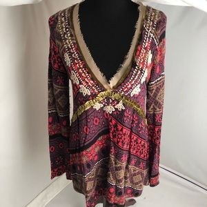 Free People multicolor v-neck tunic sweater L